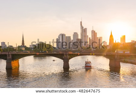 Beautiful summer view of Frankfurt skyline at Sunset, germany