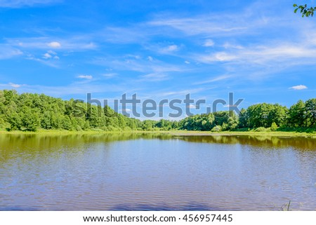 Beautiful summer water landscape in Russia background