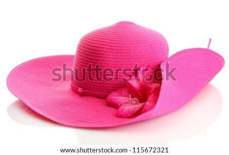 Beautiful summer woman hat with flower isolated on white - stock photo