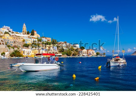 Beautiful summers day at Symi on the Greek island of Symi in the Dodecanese Greece Europe - stock photo