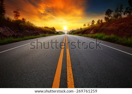 beautiful sun rising sky with asphalt highways road in rural scene use land transport and traveling background,backdrop - stock photo