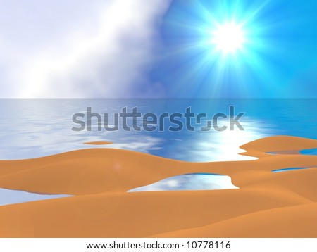 Beautiful sun, sand, and calm waters - stock photo