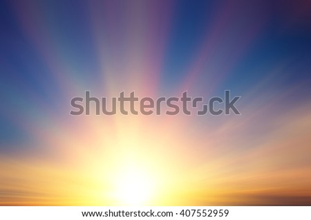Beautiful sun with rays at sunset. Abstract composition - stock photo