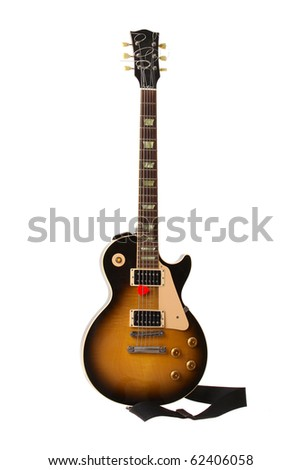 Beautiful sunburst electric guitar isolated on white background - stock photo