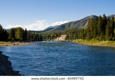 Beautiful sunny afternoon on the North Fork River near Glacier National Park in Montana.