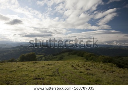Beautiful sunny day is in mountain landscape. Carpathian - stock photo