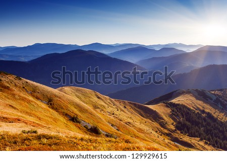Beautiful sunny day is in mountain landscape. Carpathian, Ukraine, Europe. - stock photo