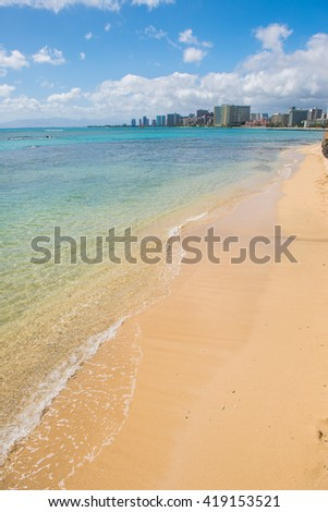 Beautiful sunny day on the Waikiki beach Hawaii - stock photo
