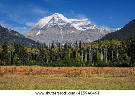 Beautiful sunny landscape with Mount Robson visible in the distance. Rocky Mountains, Alberta, Canada