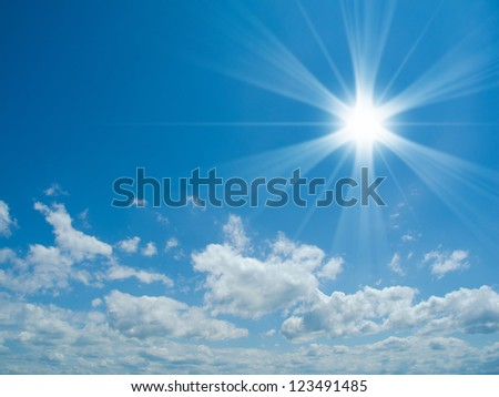 beautiful sunny sky with clouds and copy space