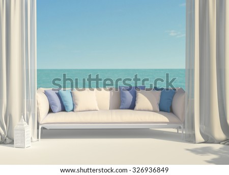 Beautiful sunny terrace overlooking the sea - stock photo
