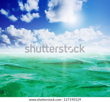 Beautiful sunny tropical beach on the island paradise in the middle of the sea