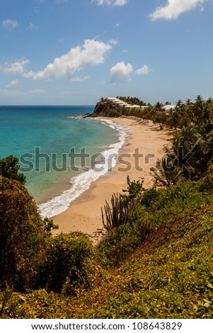 Beautiful Sunny Tropical Caribbean Beach Landscape Carlisle Bluff Antigua - stock photo