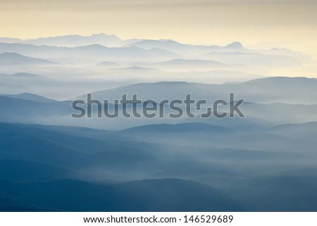 Beautiful sunrise above the Crimea mountains - stock photo