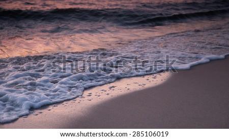 Beautiful sunrise at Baltic sea. Sunrise over the sea. Chalupy, Long exposure photo - stock photo