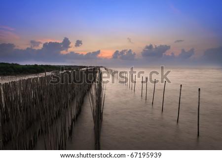 Beautiful sunrise at bangpu place, Samuthprakarn province, Thailand - stock photo