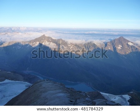 beautiful sunrise at the Wiesbachhorn mountain in austrian alps
