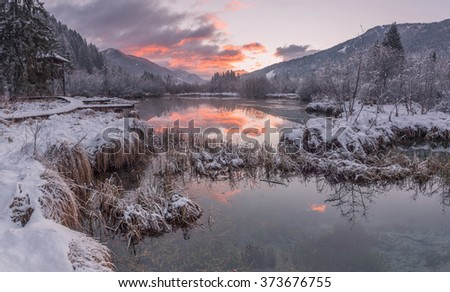 Beautiful sunrise at Zelenci springs in winter time.