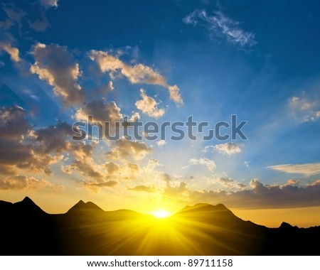 beautiful sunrise in a mountains