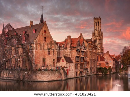 Beautiful sunrise in Bruges, Belgium.