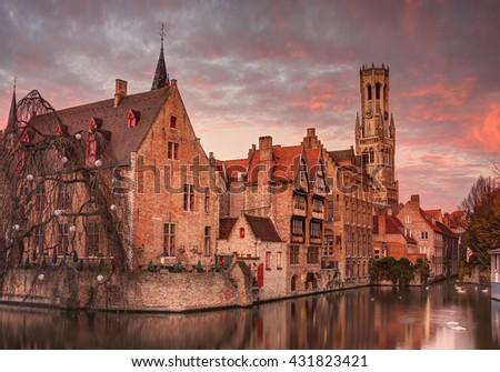 Beautiful sunrise in Bruges, Belgium. - stock photo