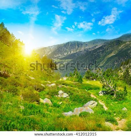 Beautiful sunrise in high mountains. Andorra, Pyrenees - stock photo