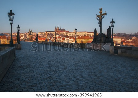 Beautiful Sunrise in Prague - stock photo