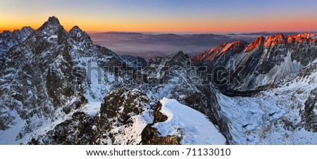 Beautiful sunrise in rocky mountain - stock photo