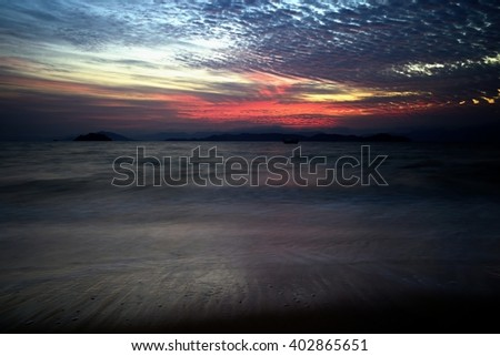 Beautiful sunrise in seascape scene