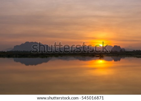 Beautiful sunrise in Thai countryside.