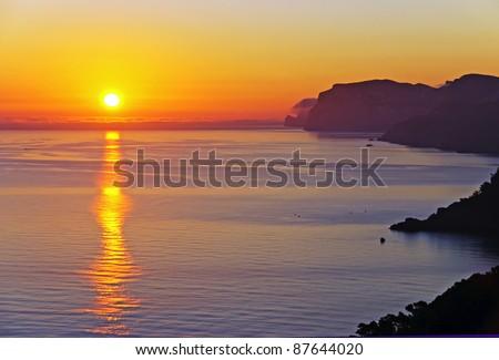 Beautiful sunrise in the island of Majorca (Balearic Islands - Spain) - stock photo