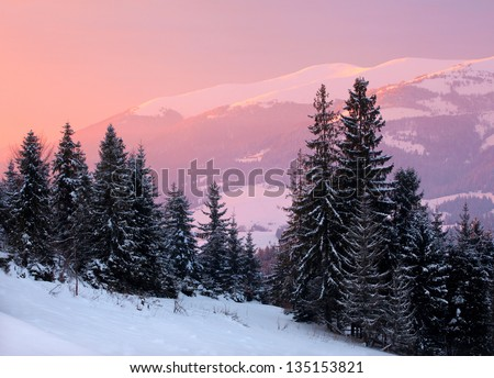 Beautiful sunrise in the winter mountains - stock photo