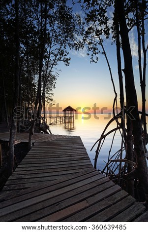 Beautiful sunrise of silhouette mangrove forest and wooden landing with pavilion in the sea at Black Sand Beach, Trat Province of Thailand - stock photo