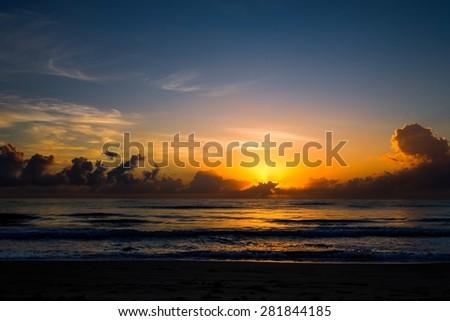 Beautiful sunrise of the coast of Fort Lauderdale, Florida - stock photo
