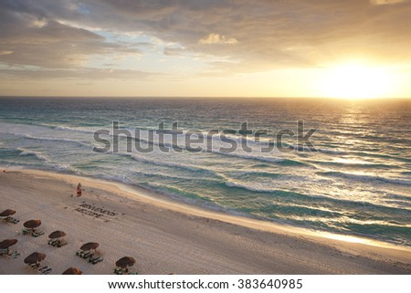 Beautiful sunrise on the beach in Cancun, Mexico - stock photo