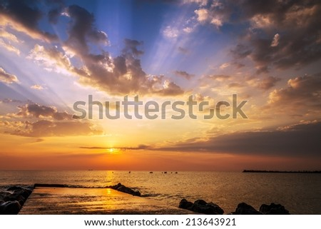 Beautiful sunrise on the Black Sea coast - stock photo