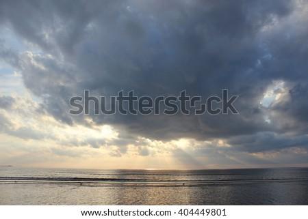 Beautiful sunrise on the ocean - stock photo