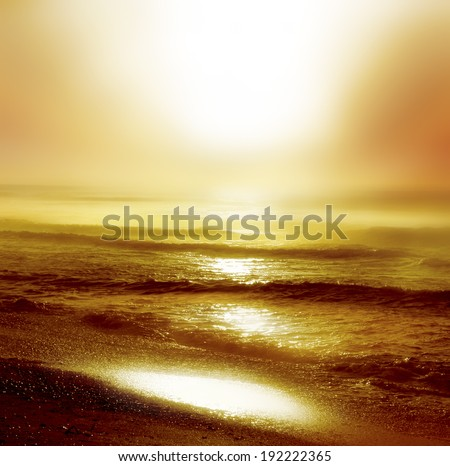 Beautiful sunrise on the sea - stock photo