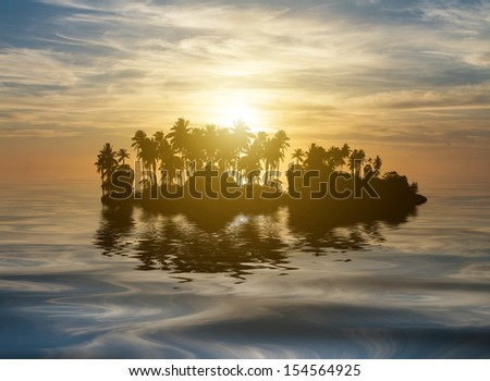 Beautiful sunrise on tropical island with coconut trees