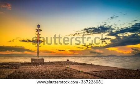 Beautiful sunrise over Aegean Sea, Kos island, Greece - stock photo