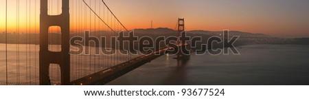 Beautiful sunrise over Golden Gate Bridge, San Francisco, California - stock photo