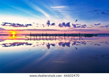 Beautiful sunrise over lake
