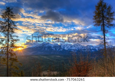 Beautiful sunrise over Tatra mountains in winter, Poland