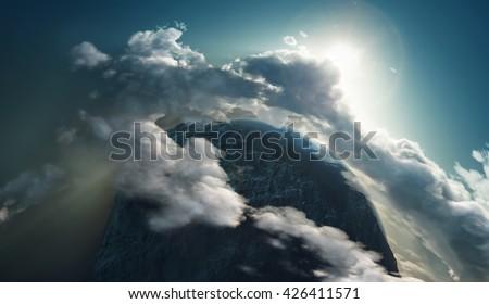 beautiful sunrise over the earth, 3d illustration - stock photo