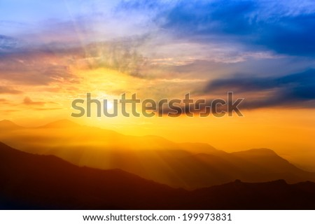 Beautiful Sunrise over The Himalayas, Nepal - stock photo
