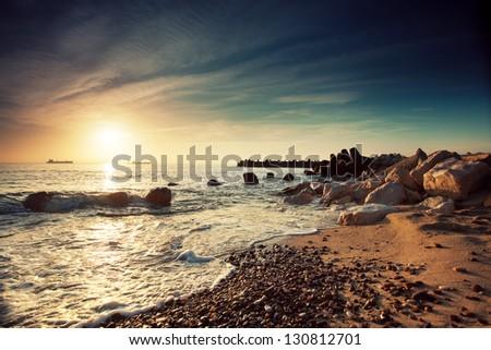 Beautiful sunrise over the horizon - stock photo