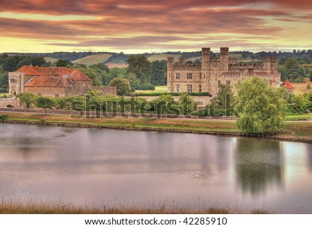 Beautiful sunrise over the Leeds Castle - Kent, Great Britain. HDR image - stock photo