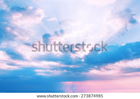 beautiful sunrise over the quiet calm sea - stock photo