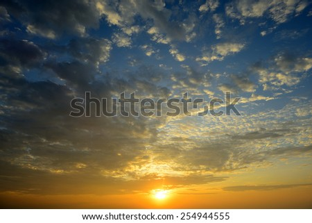beautiful sunrise sky with cloud - stock photo