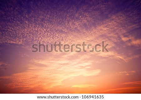 Beautiful sunrise sky with clouds - stock photo